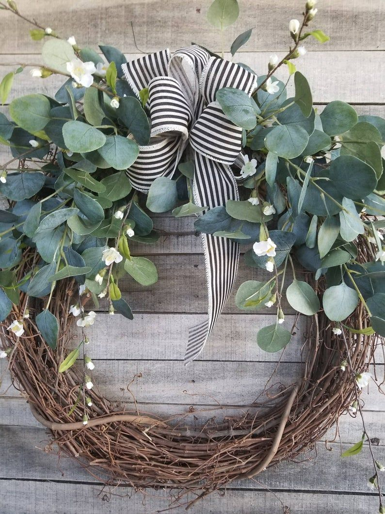 """Photo of 22 """"Eucalyptus Wreath with a touch of little white flowers Wreath for All Year Round – Everyday Burlap Wreath, Door Wreath, Wedding Wreath"""