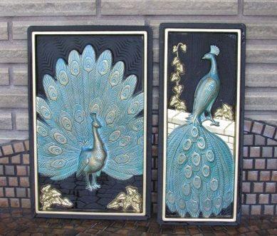 Vintage Avant Garde Aqua and Gold Peacock by FrenchToastKitty