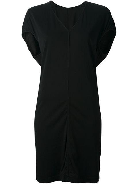 RICK OWENS DRKSHDW V-Neck Sweater Dress. #rickowensdrkshdw #cloth #dress