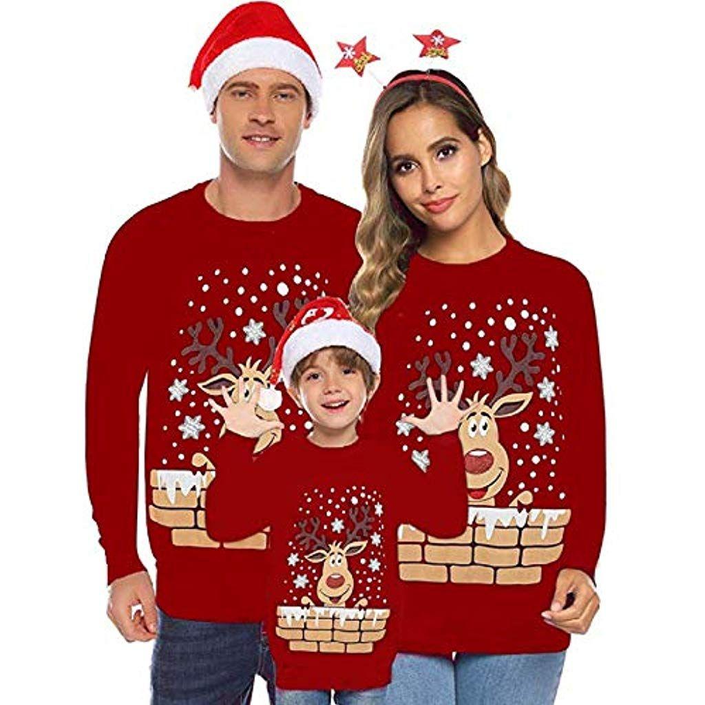 V/êtements de Famille Sweat-Shirt Top,Enfants de Maman et de Papa Sweatshirt cerf imprim/é Pull Tops Blouse T-Shirt Manches Longues Sweat Chauds Sweatshirt No/ël