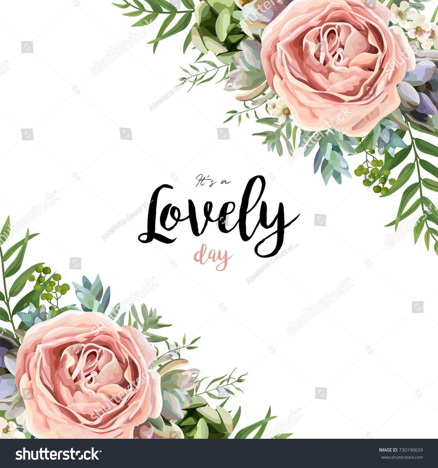 Vector floral card frame bouquet design with garden pink