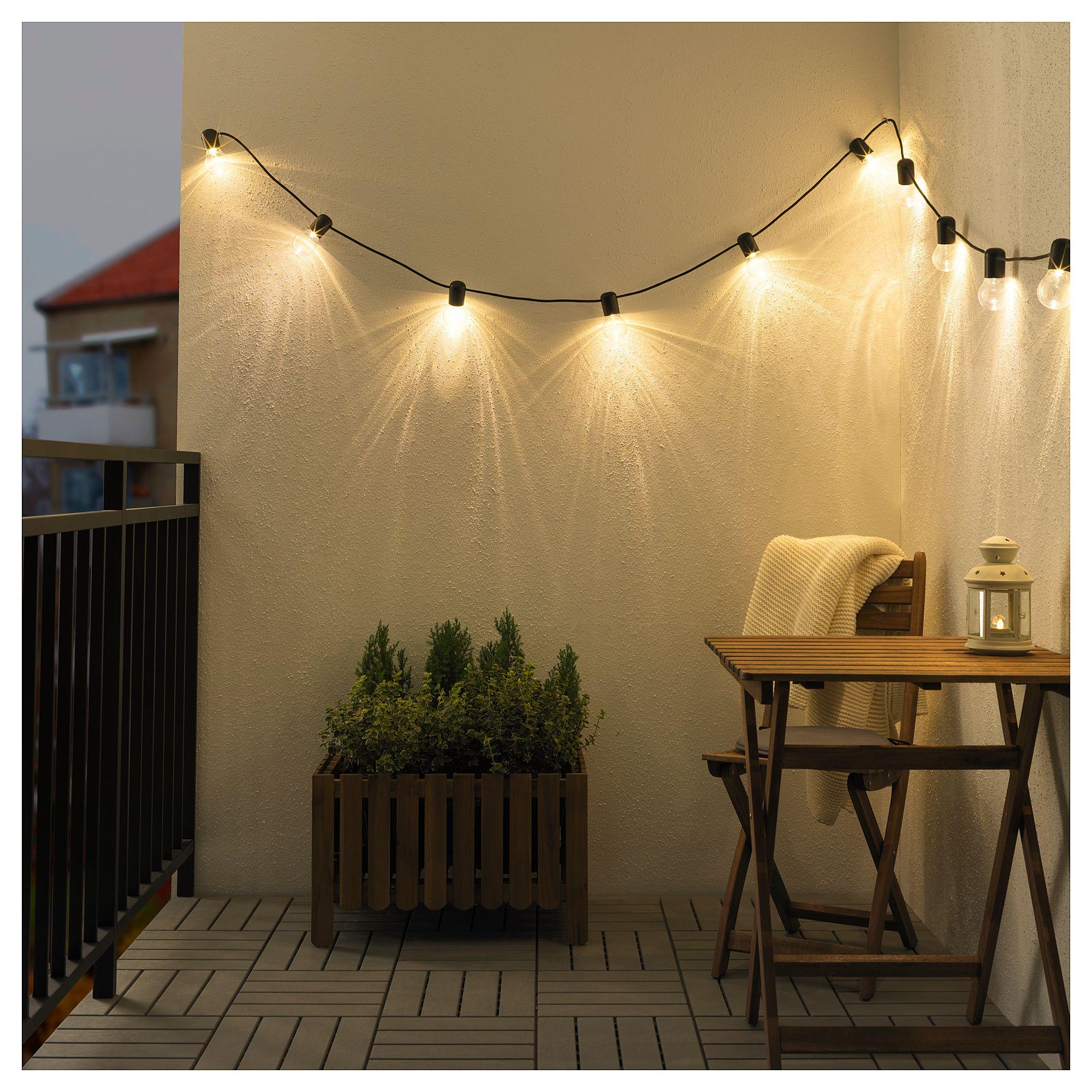 Svartrå Led String Light With 12 Lights Black Outdoor In