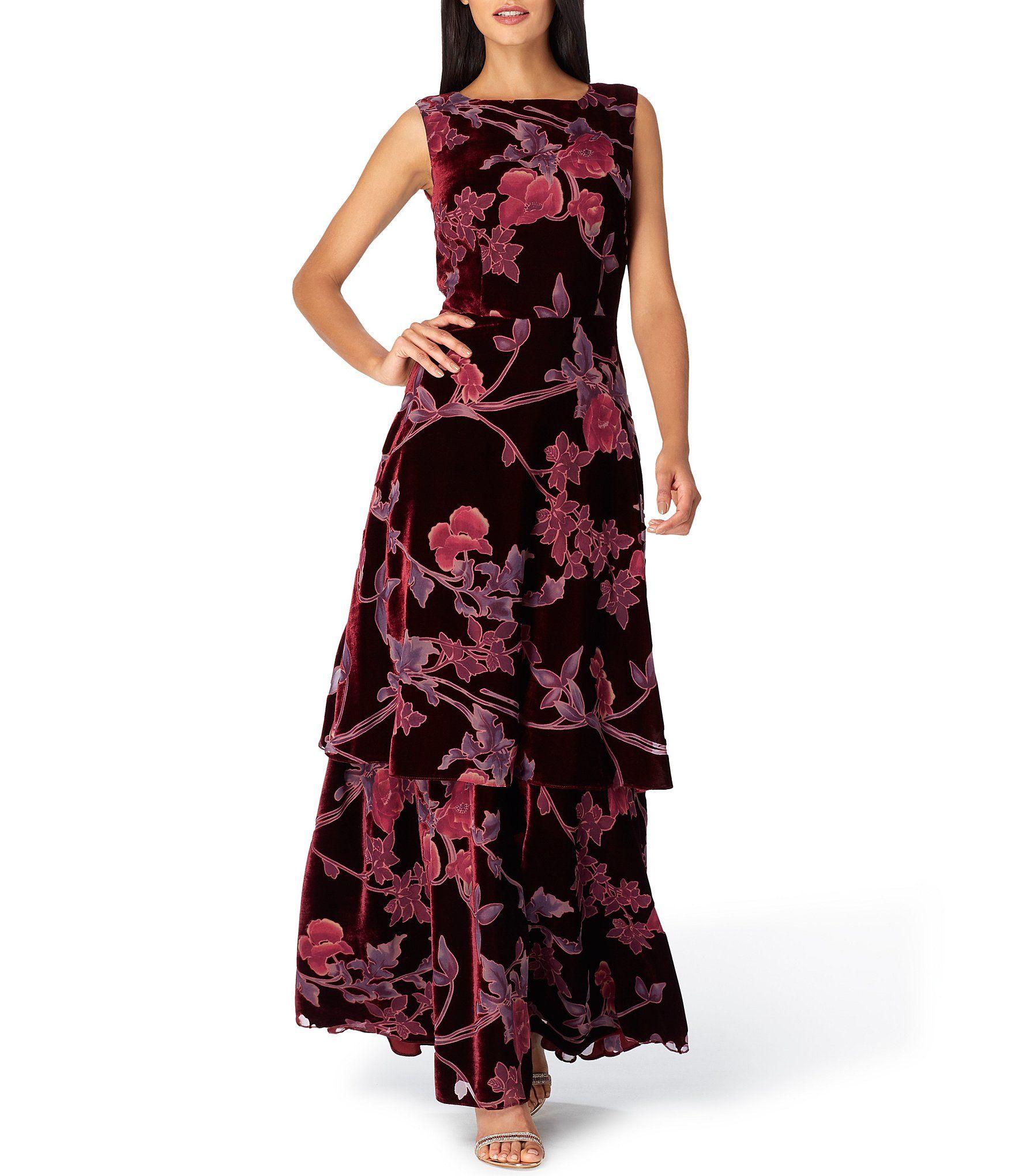 784d8f6488 Tahari ASL Velvet Burnout Floral Print Tiered Skirt Sleeveless A-Line Gown