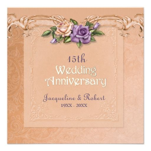 Damask And Roses Peach 15th Wedding Anniversary Personalized Announcements Change Date To Any Year You