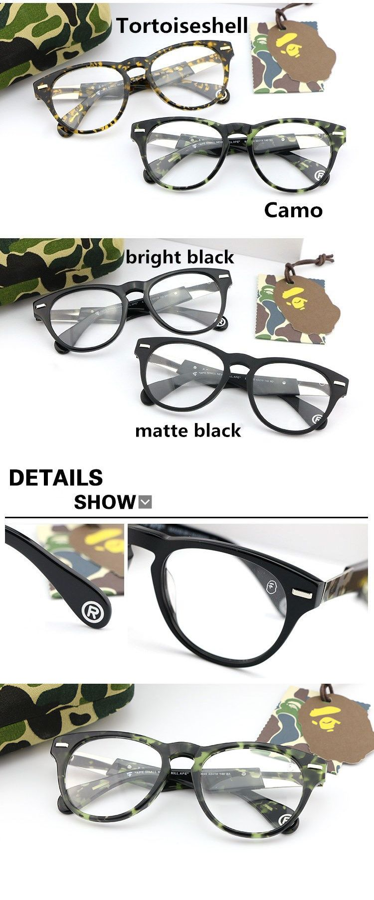 aa657d1879 Fashion Eyewear Clear Glasses 179244  A Bathing Ape Glasses Bape Eyewear  Glasses Vintage 4 Colors Brand New -  BUY IT NOW ONLY   68.99 on eBay!