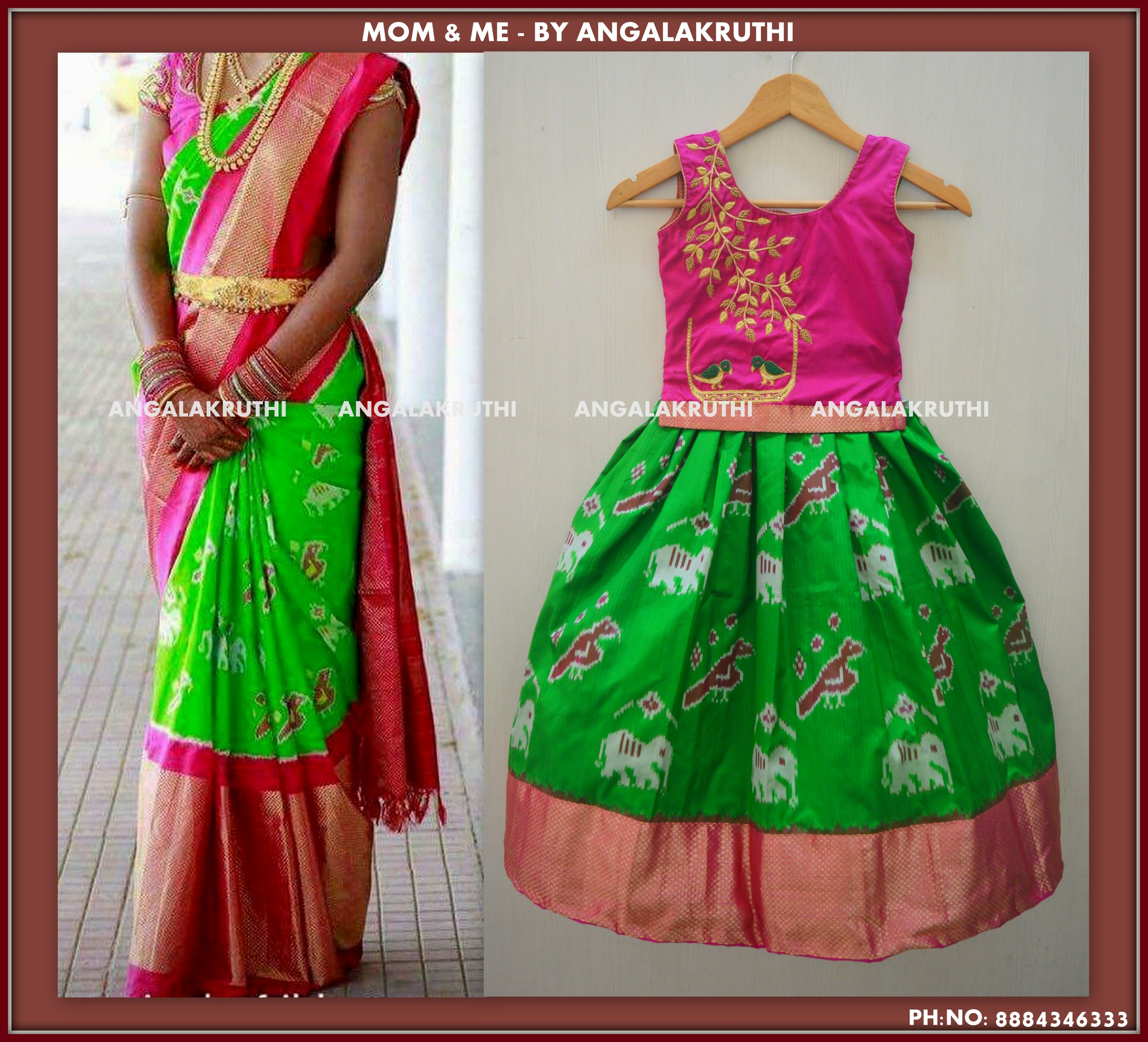 Mom And Me Designs In Bangalore By Angalakruthi Ladies Boutiques Custom Designer Boutique In Ba Kids Blouse Designs Mom And Baby Dresses Kids Dress Patterns