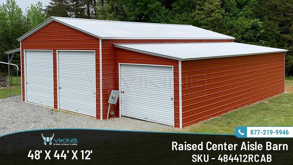 48x44x12 Raised Center Aisle Barn Roof Styles Barn House Barn