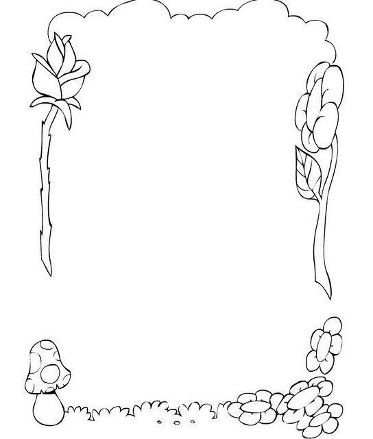 COLOREA TUS DIBUJOS: Borde de Flores, Rosa y Hongo para colorear e ...