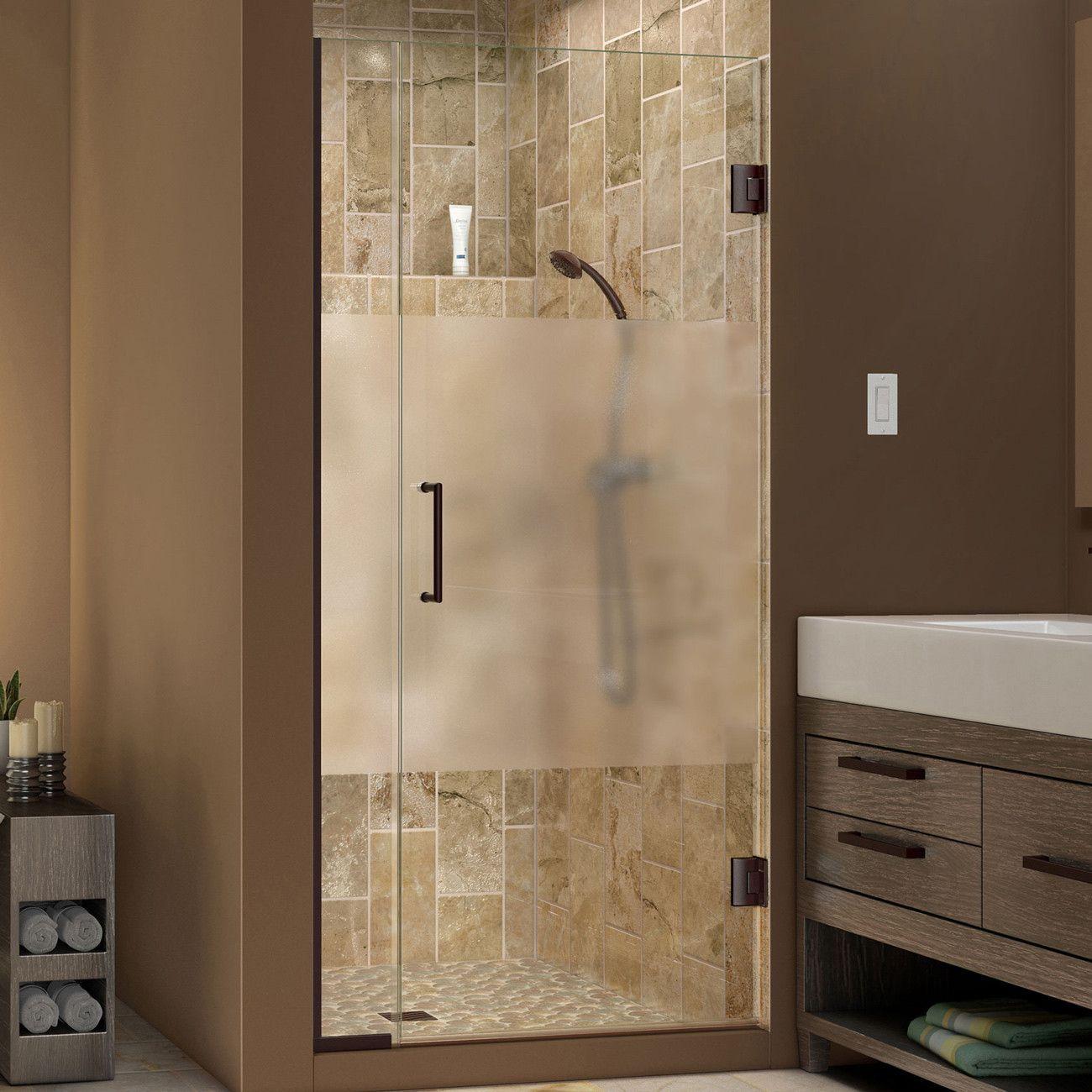 Dreamline Shdr 243557210 Hfr 06 Unidoor Plus 35 1 2 To 36 In W X 72 In H Shower Door Half Frost Shower Doors Glass Shower Doors Frameless Hinged Shower Door