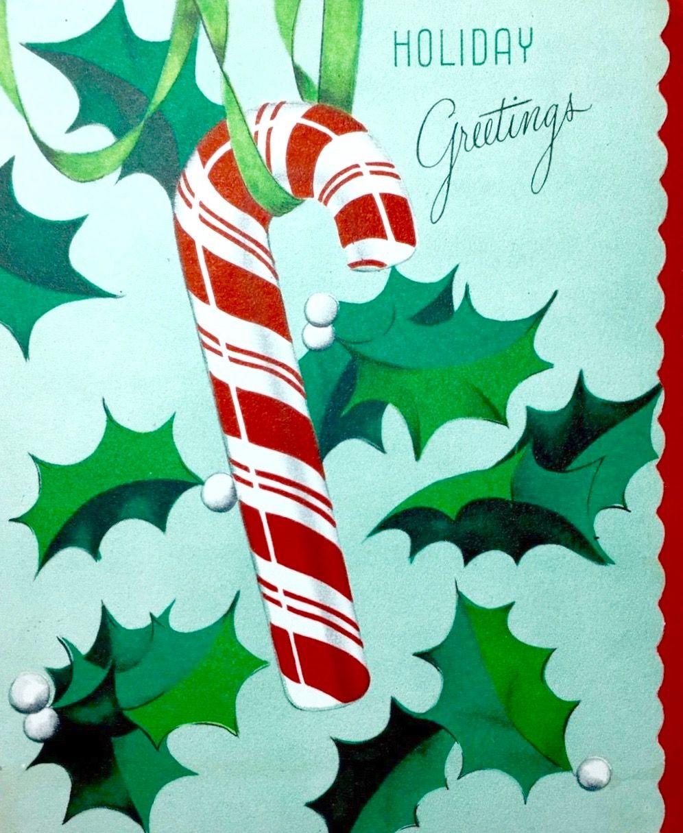 Vintage candy cane retro christmas card holiday greetings vintage candy cane retro christmas card holiday greetings kristyandbryce Image collections