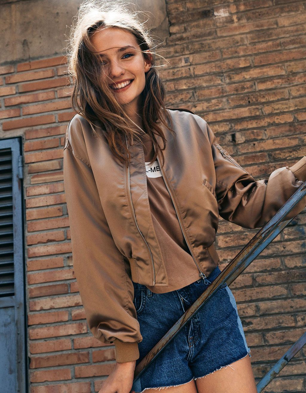 485137301 Satin bomber jacket with oversized sleeves | Fashion For Her Two ...