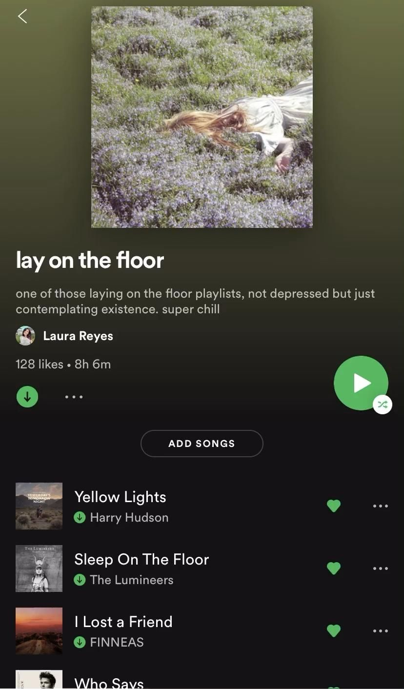 Lay On The Floor Playlist By Laura Reyes Spotify Video In 2020 Music Playlist Vibe Song Indie Folk Music