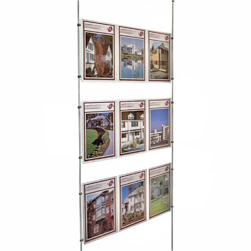 Cable Wire Window Display Acrylic Poster Holder Estate Agent Shop Display