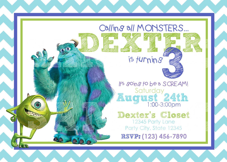 Monsters Inc Birthday Invitation / Printable / Custom Invitation ...