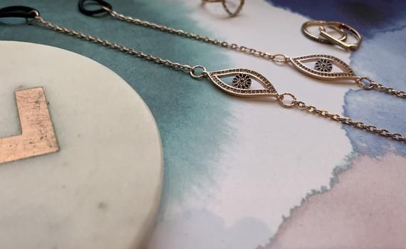 Photo of Rose Gold Glasses Chain – With Evil Eye charms, Sunglasses Chain, Spectacle holder, Eye Glass Strap, Eyeglass Necklace
