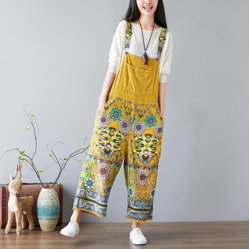 Womens Loose Fitting Printed Floral V Neck Cotton Jumpsuit Overalls With Pockets  Casual Jumpsuit  Casual Overalls  Overalls For Women