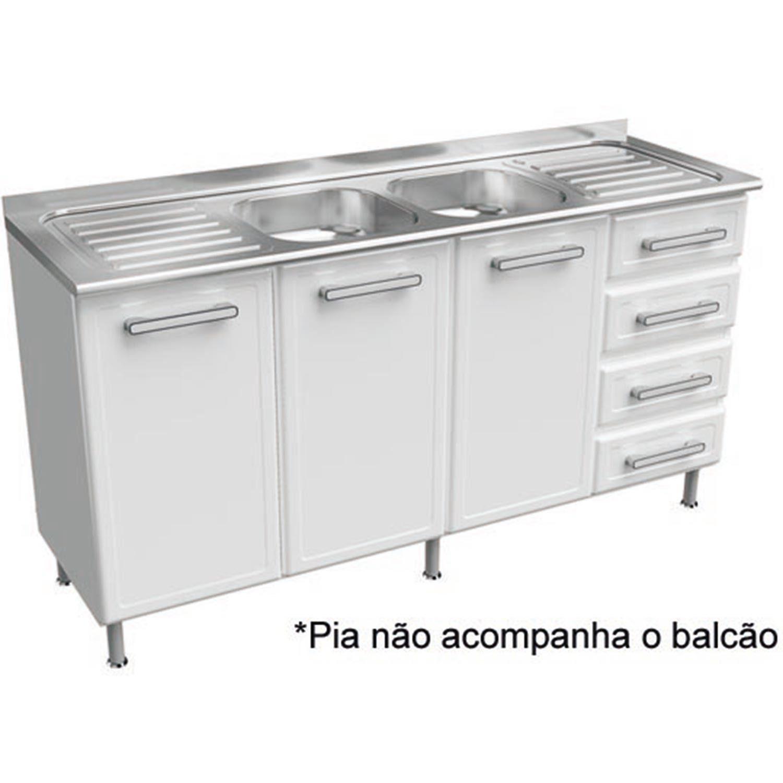 Balc O A O Bertolini 1 60 M 3 Portas 4 Gavetas Gourmet Branco Em