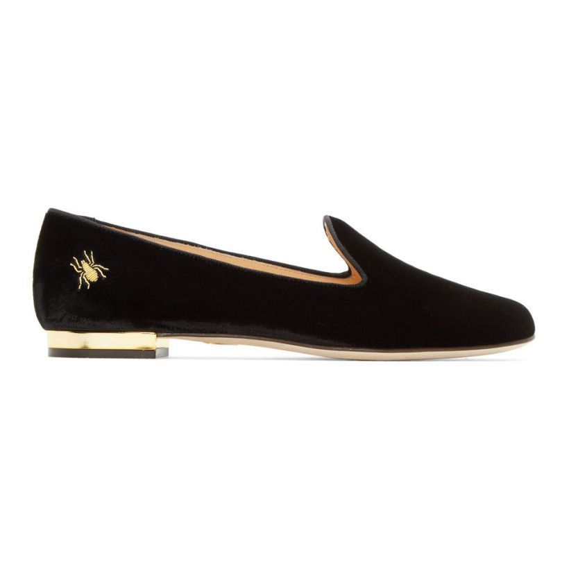 Charlotte Olympia - Black Velvet Nocturnal Loafers  9a35f2252719