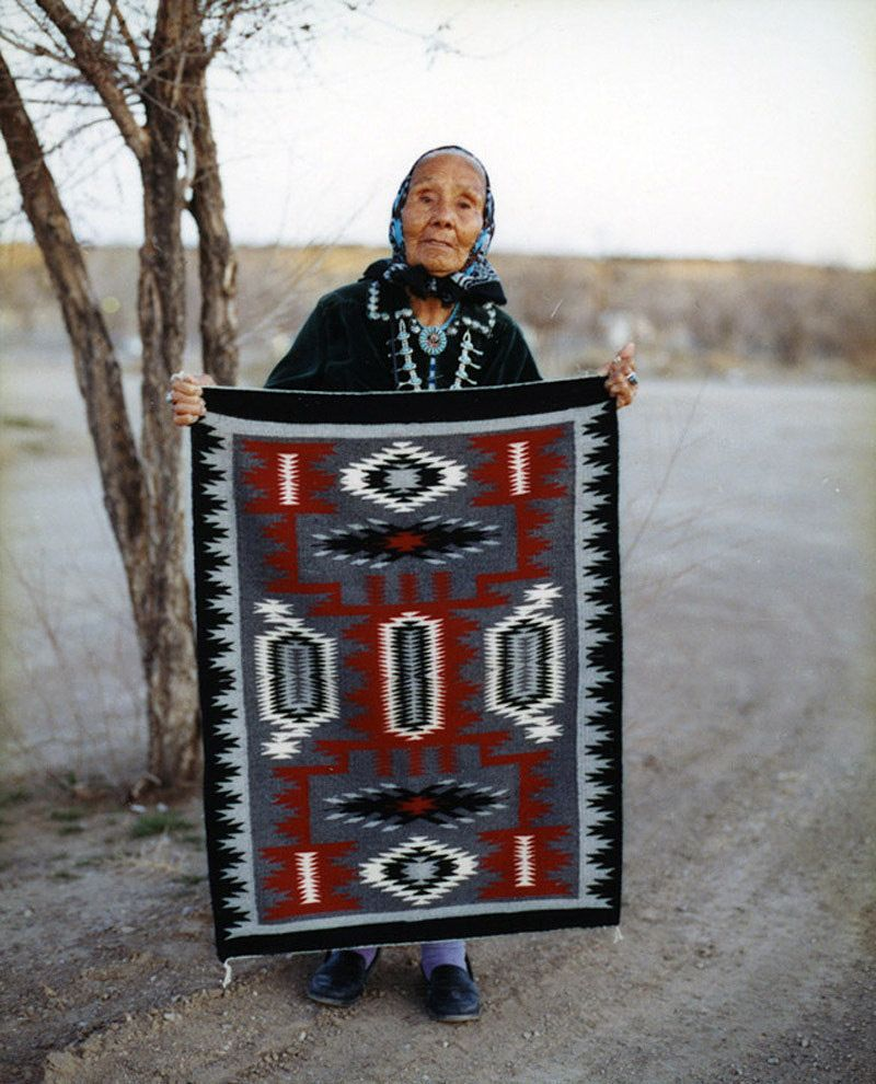 Mexican Rug History: Navaho Weaver Crown Point Rug Auction New Mexico
