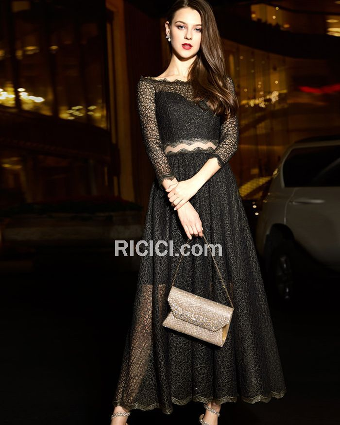 0399de63fd5 See Thru Crop Top Long Evening Homecoming Dresses Lace Long Sleeve Sexy  Princess - Ricici.com #dress #gowns #fashion #lacedress #blackdress  #croptop #black ...