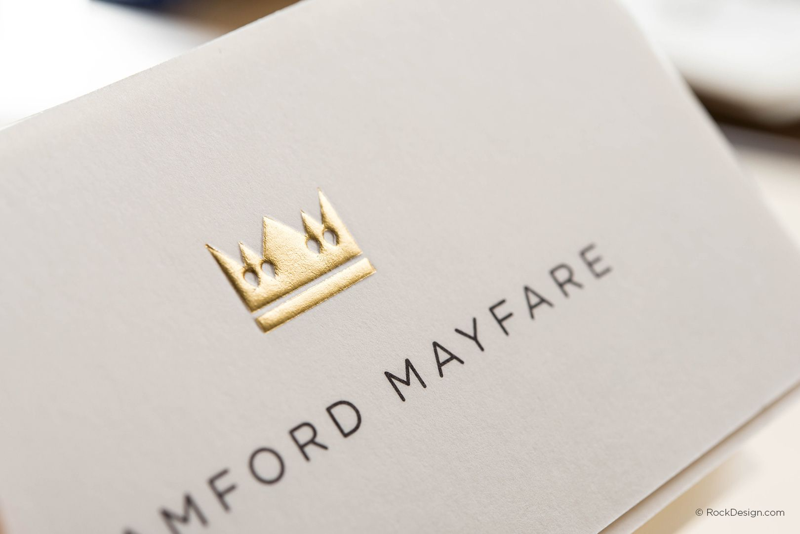 Modern Minimalist Cream Business Card Template With Gold Foil And Emboss Bamford Mayfare Uncoated Business Cards Embossed Business Cards Gold Business Card