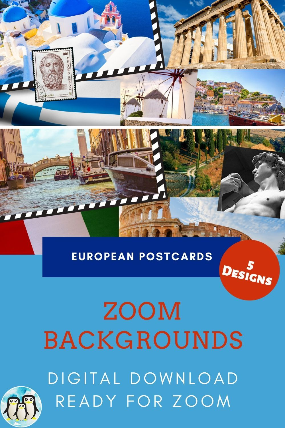 Zoom Virtual Background Bundle Of 5 European Postcards Zoom Etsy Cute Gifts For Friends Postcard Background