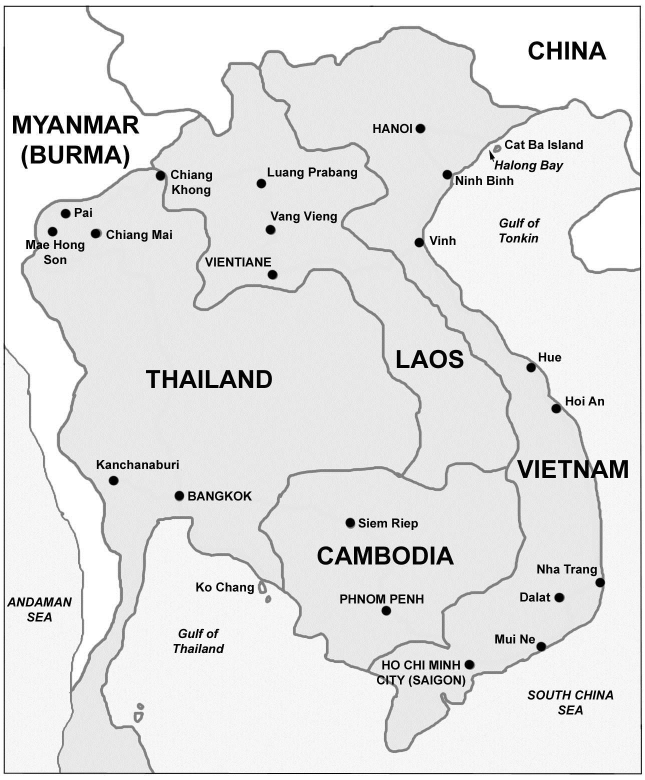 Map Thailand Laos Cambodia Vietnam Map Of Thailand Laos And