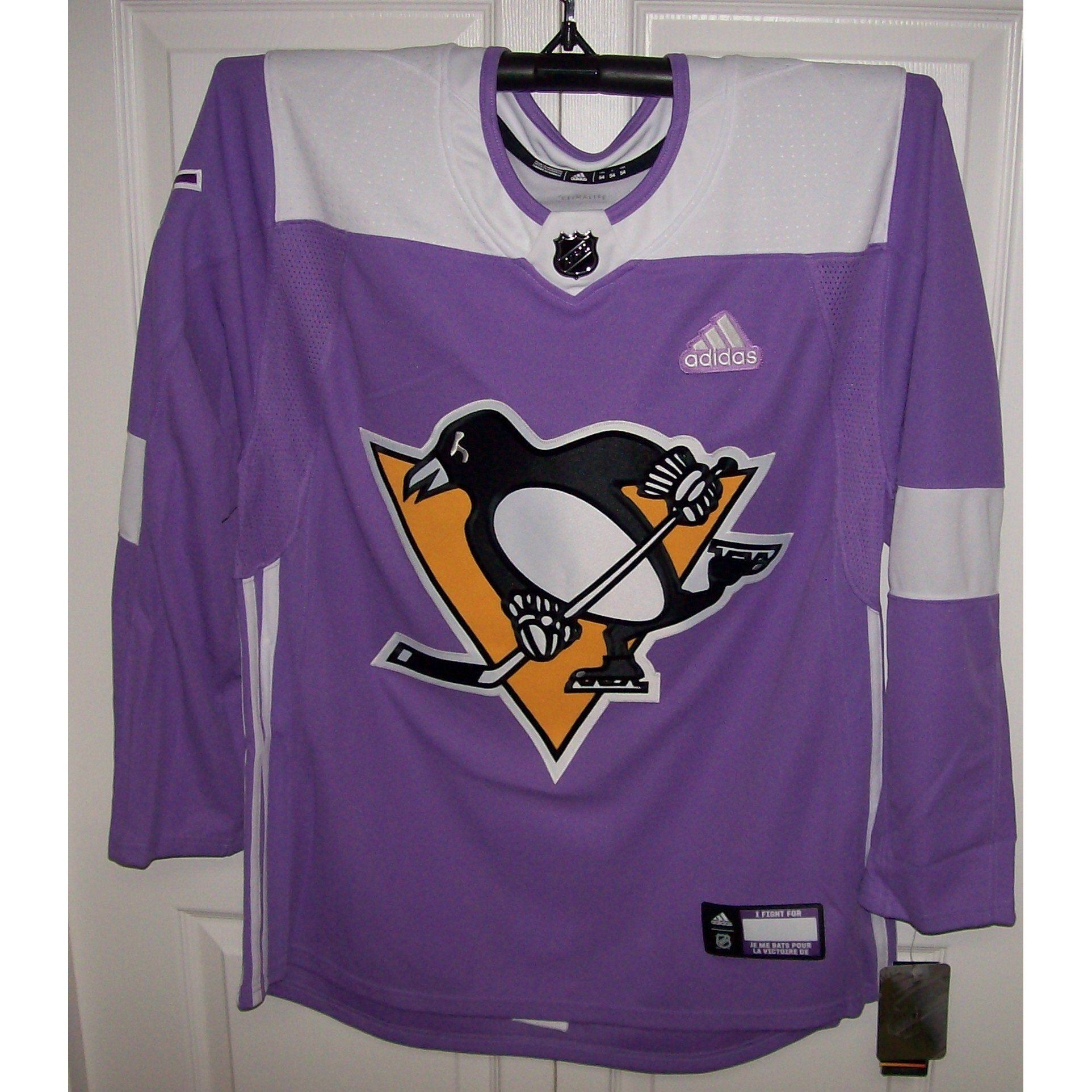 reputable site 86264 23155 Hockey Fights Cancer Pittsburgh Penguins Purple 255J Adidas ...