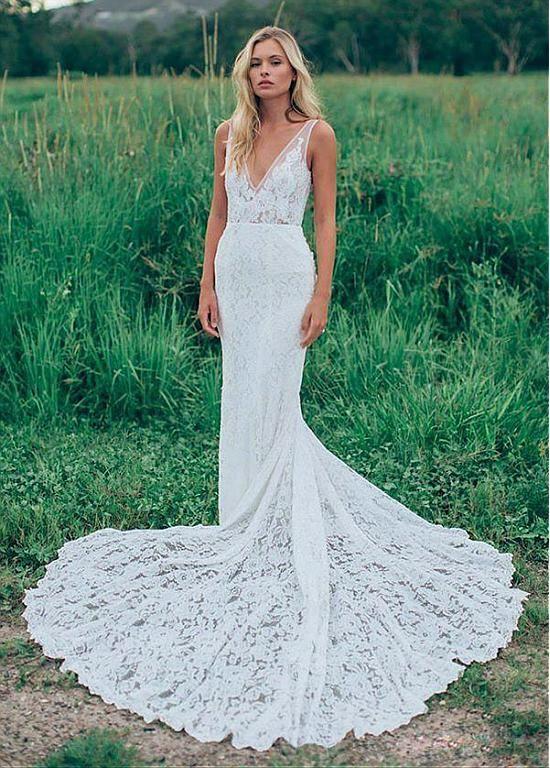 Buy discount Wonderful Lace V-neck Neckline Mermaid Wedding Dresses ...