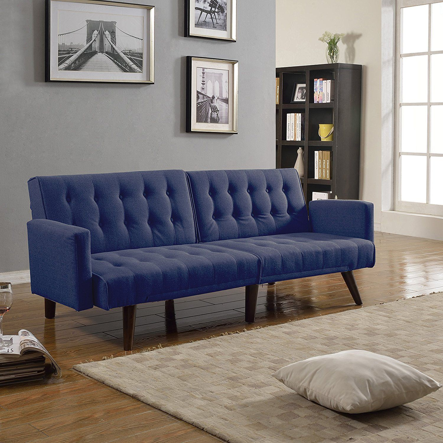 Modern Convertible Linen Futon Tufted Sofa