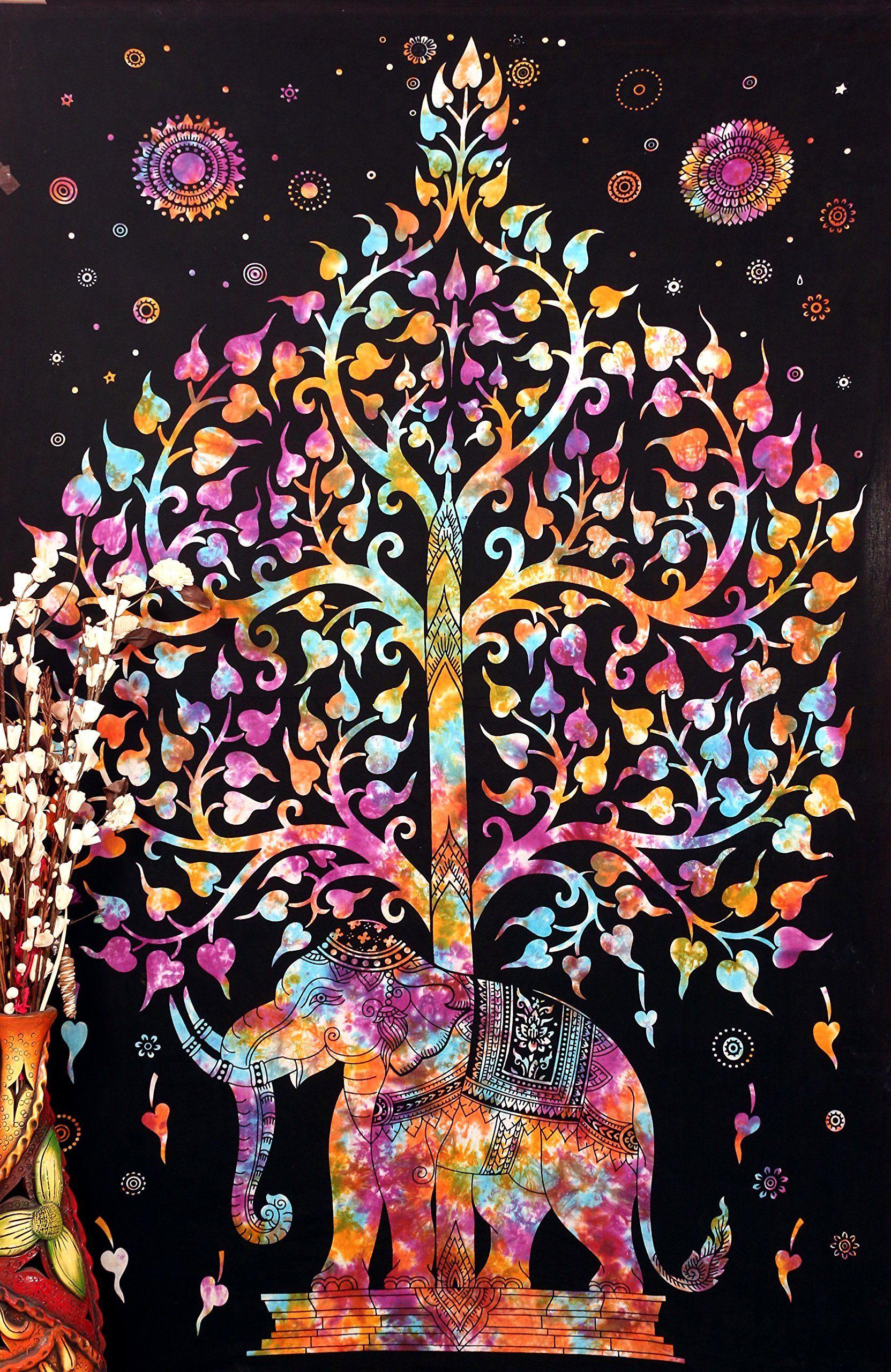 Indian Mandala Elephant Tree Of Life Wall Hanging Tapestry Throw Dorm Decor Art