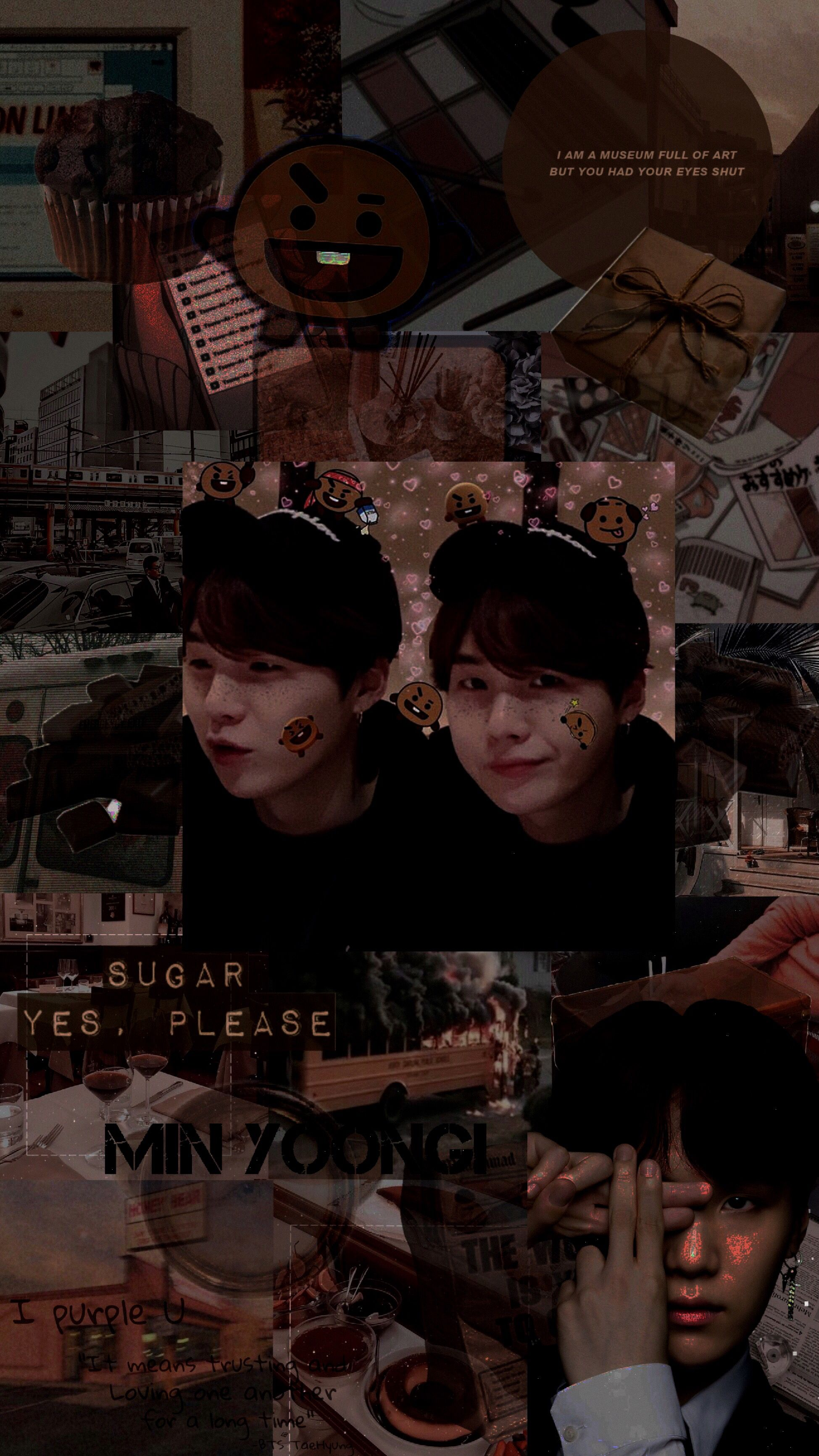 Yoongi Bts Shooky Brown Aesthetic Korean Suga Collage Orang Lucu Lucu Orang