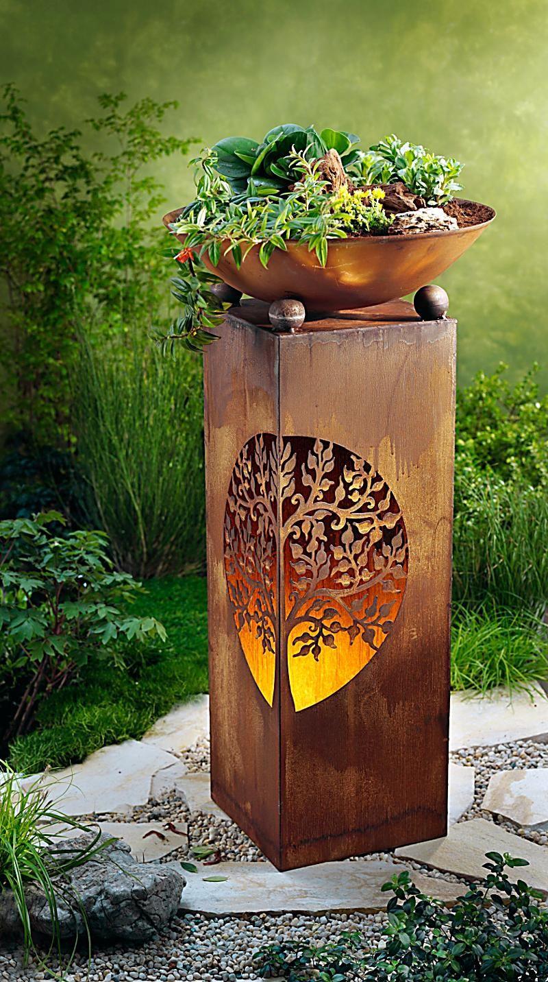 Pflanzsaule Mit Schale Albero Bei Weltbild Bestellen Mit Bildern Metall Gartenkunst Rost Deko Garten Metall Gartenskulpturen