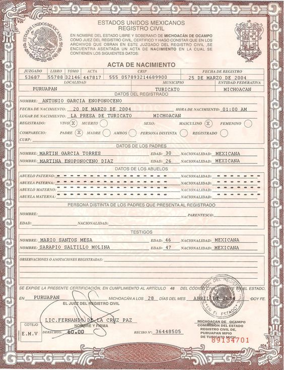 This is Mexican Birth Certificate PSD (Photoshop) Template. On this ...