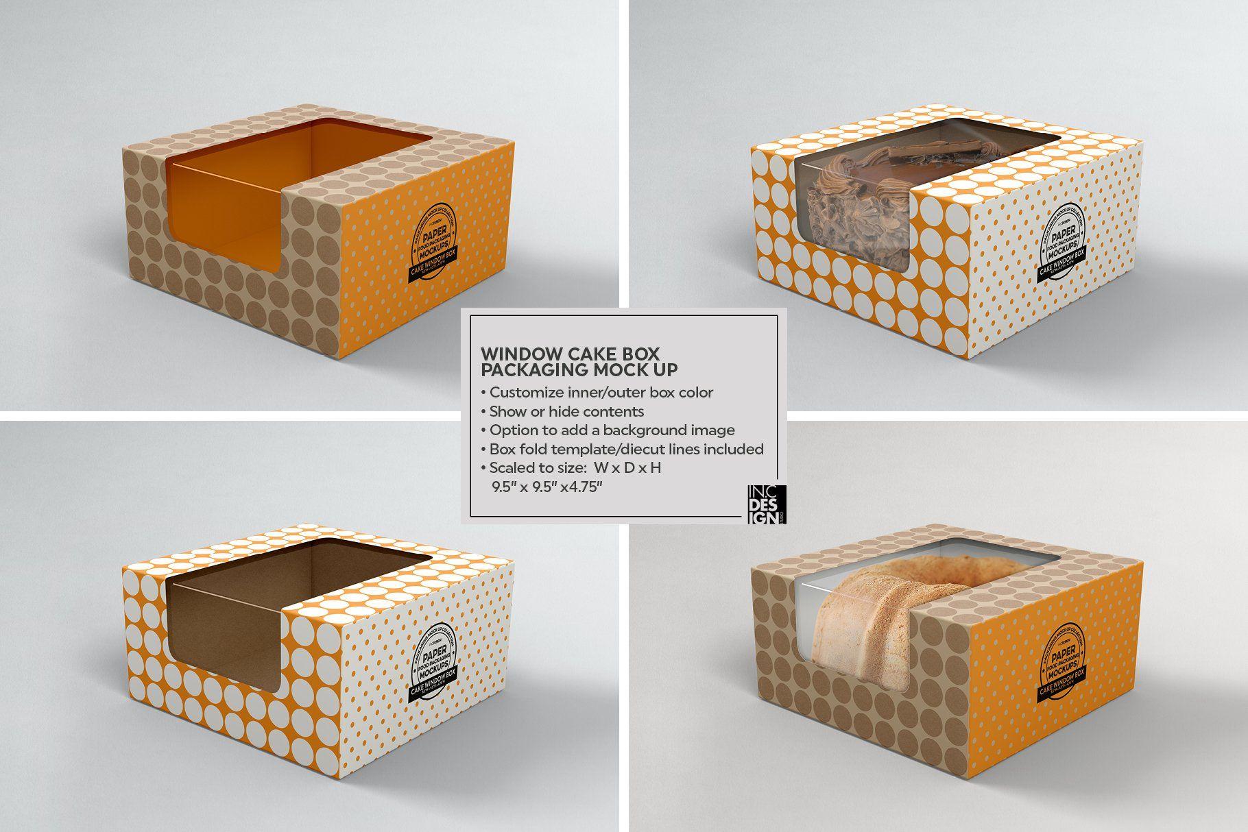 Download Cake Window Box Packaging Mockup Food Box Packaging Box Packaging Templates Box Packaging Design