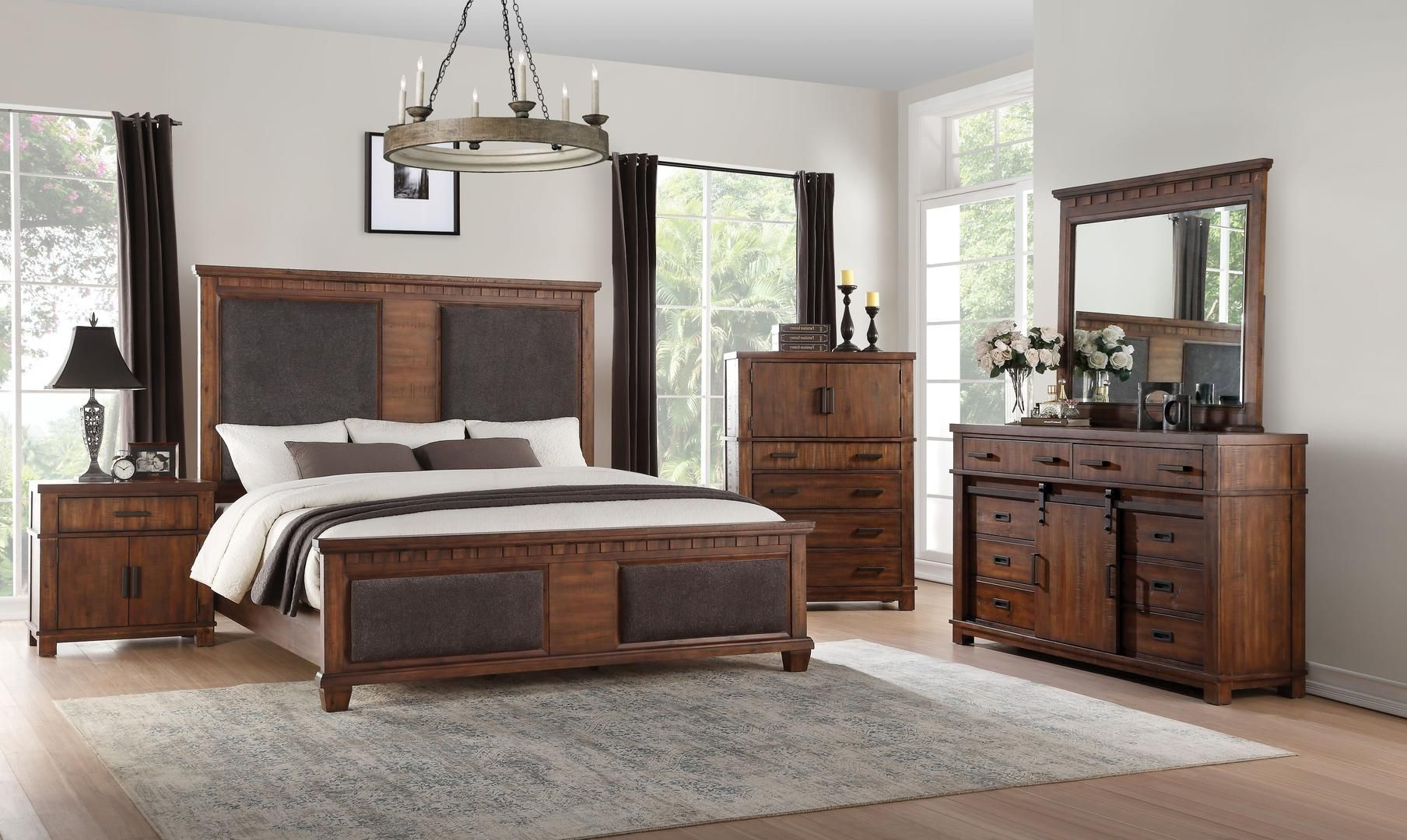 Acme 27160Q Vibia Brown And Cherry Wood Finish 4 Piece