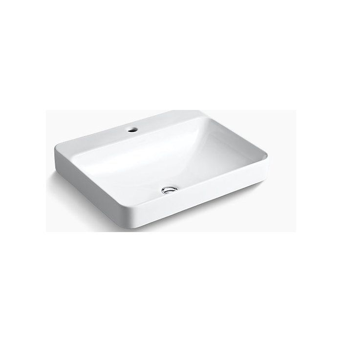 Vox Vitreous China Rectangular Vessel Bathroom Sink With Overflow Sink Above Counter Bathroom Sink Restroom Design