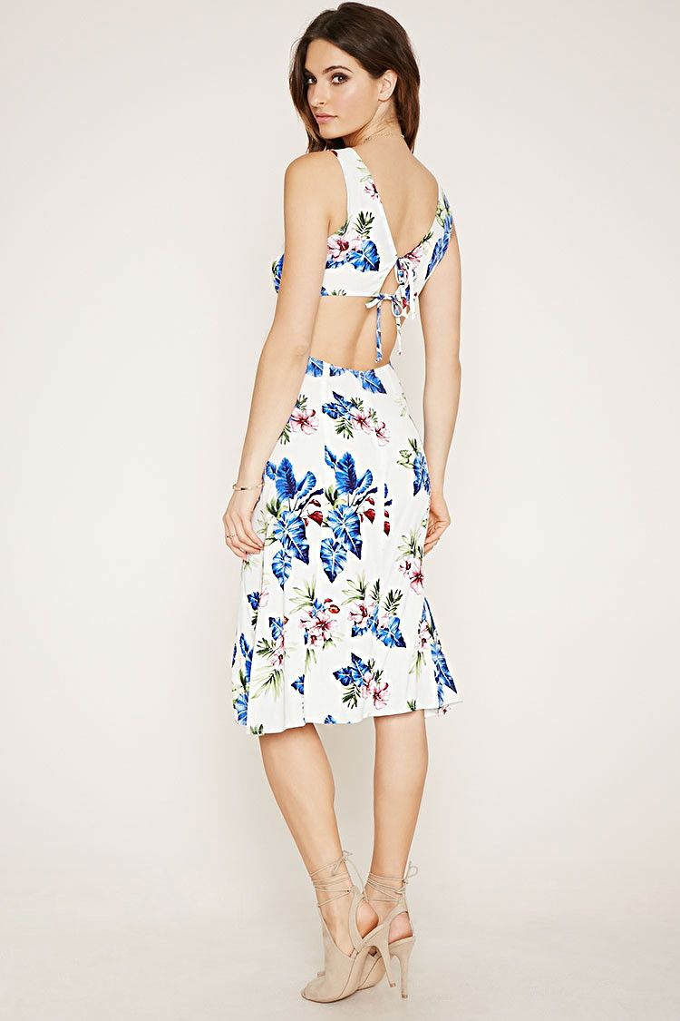 Floral Print V Cut Midi Dress Forever 21 2000168130 Want To