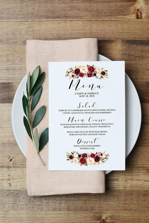 Biglietti Segnaposto Matrimonio Da Stampare.Wedding Menu Template Printable Menu Template Menu Cards Menu