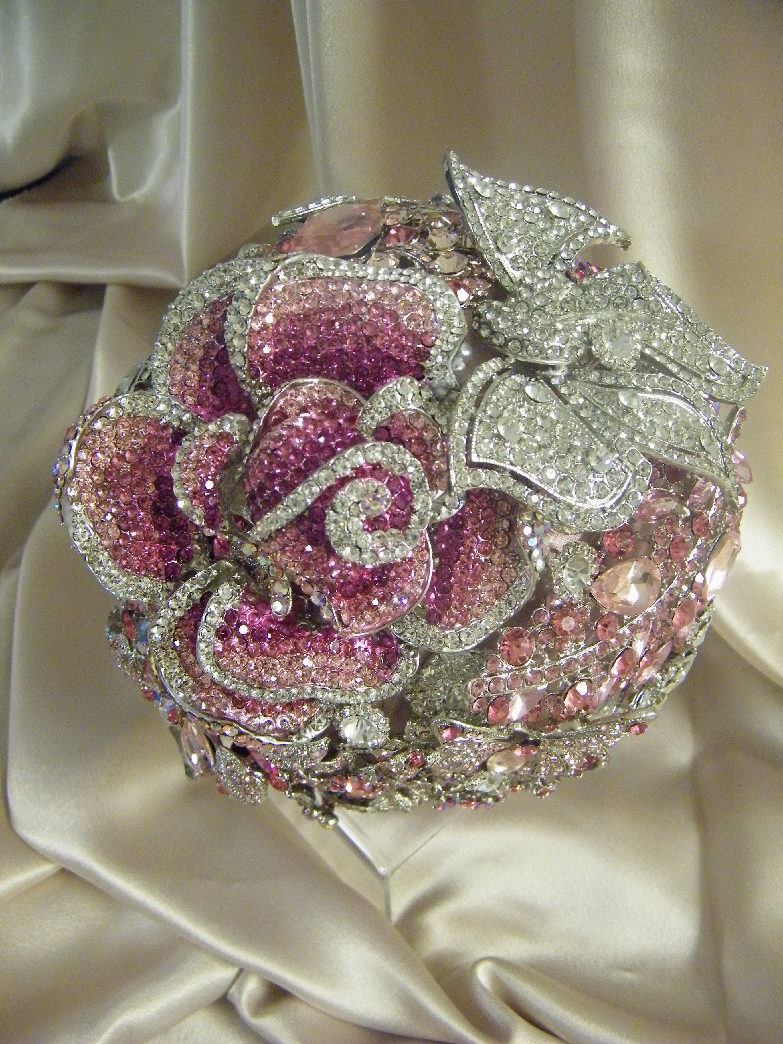 """The """"Berkeley"""" alternate view  Luxury brooch bouquets available at Crystal Brooch Bouquets Inc. #wedding www.BlueRainbowDesign.com"""