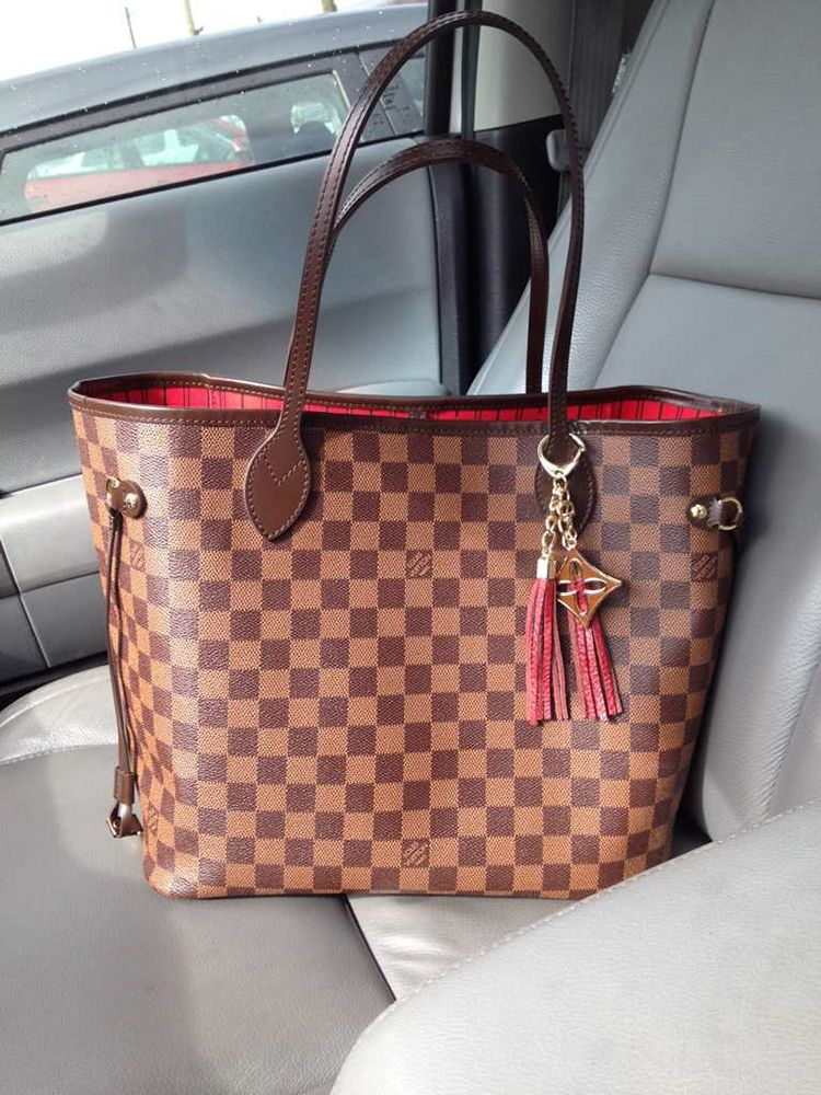 62fa168dca0b Damier Ebene Louis Vuitton Neverfull with Louis Vuitton charm ...