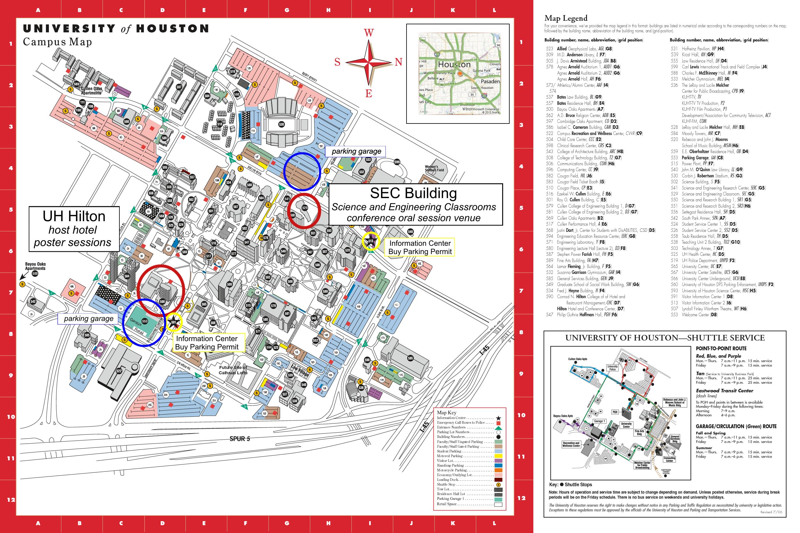 University of Houston campus map Houston Pinterest