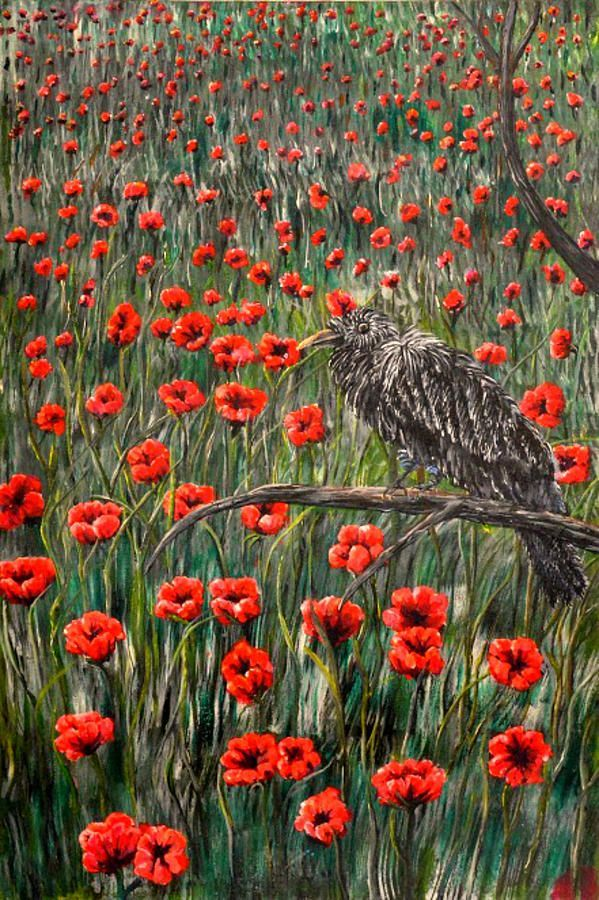 Baby Raven Chilling In The Field Of Poppies by Medea Ioseliani Baby Raven Chilling In The  Field Of Poppies Painting by Medea Ioseliani. Paintings, drawings to inspire and decorate your walls, artify your ambience. Best decor ideas and best gift ideas for art lovers. fantasyart