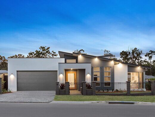 Love the lighting under eaves along front of house and ironed at sides also best one story houses modern design images in home decor rh pinterest