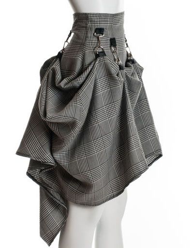 Gray Black Steam Punk Skirt | Long Skirt Skirt | skirt steampunk victorian party plaid | Chic | UsTrendy