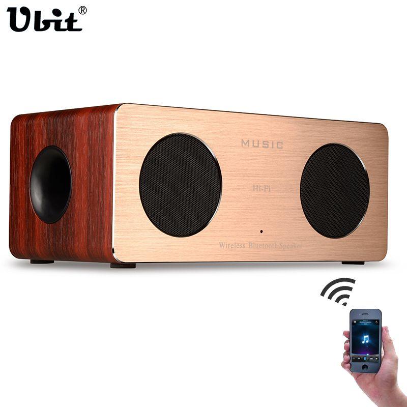 Ubit W1 Wood Bluetooth Speaker HIFI 5W Dual Loudspeakers Hands-free TF Card Wood Box & Aluminum Panel Portable Wireless Speakers