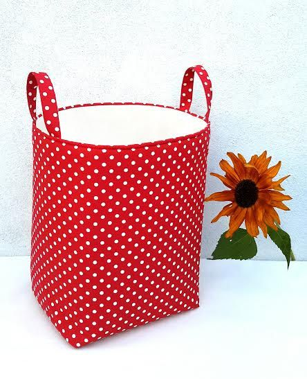 Laundry Bags With Handles Amusing Red Polka Laundry Bag Storage Organizer Basket Nursery Kids Toys Box