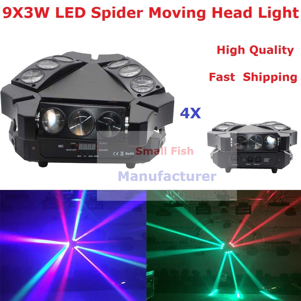 590.00$  Buy now - http://aliz2w.worldwells.pw/go.php?t=32791278433 - 4XLot NEW Moving Head Light Mini LED Spider 9X3W RGBW Quad Color Beam Light For Professional Stage Party Wedding Events Lighting 590.00$