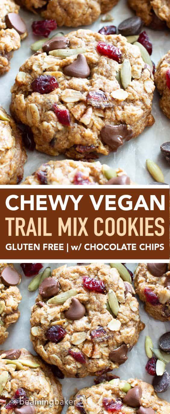 Easy Vegan Trail Mix Cookies #glutenfree