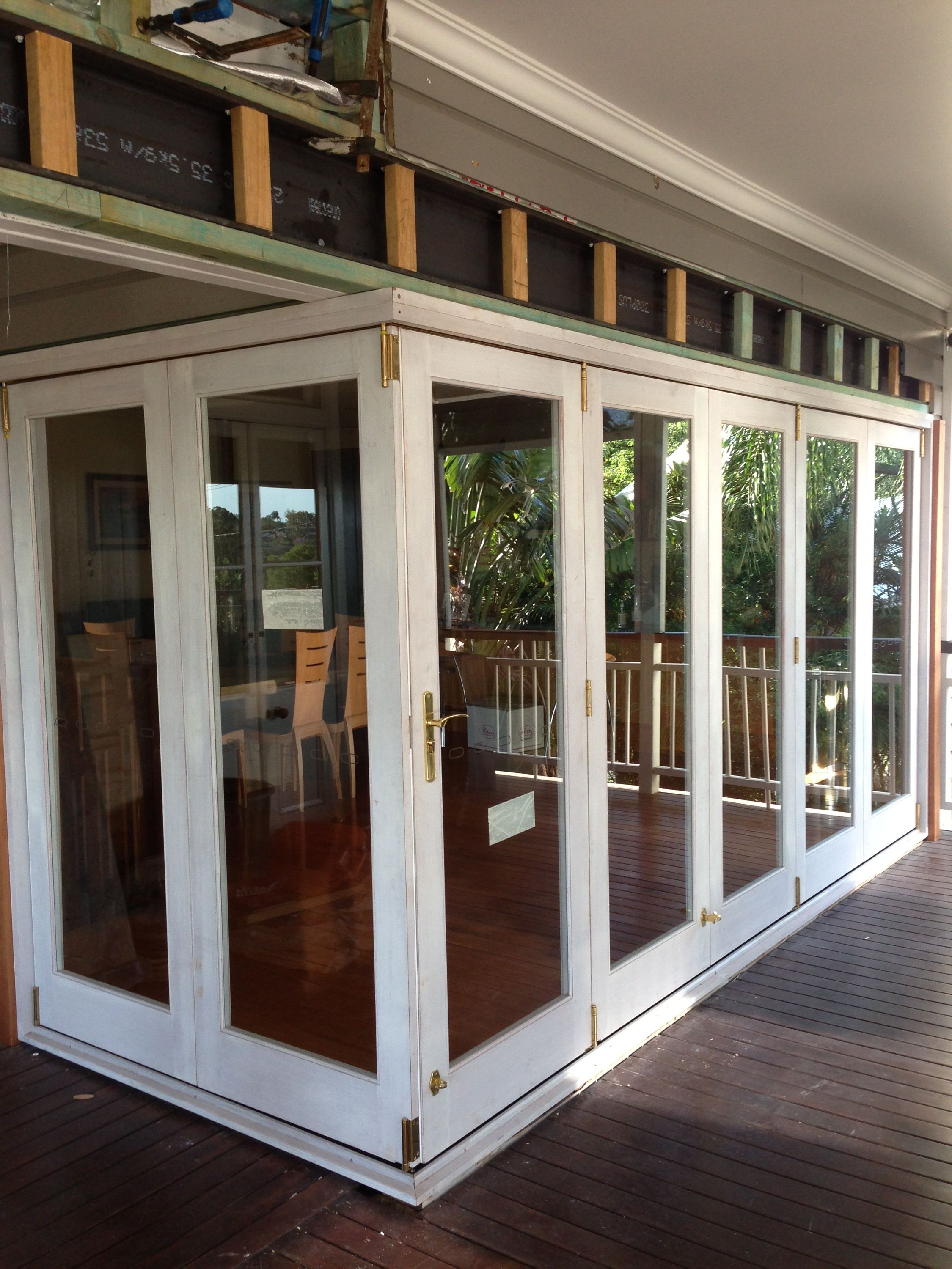 Painted White Timber Sliding Doors Fixed Either Side And A Pair